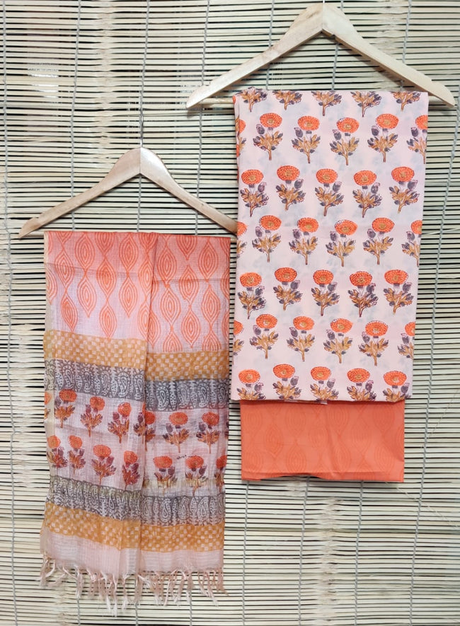 Orange Flower Print Cotton Unstitched Suit Set with Kota Silk Dupatta