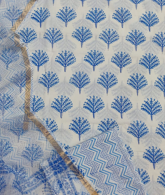Blue Plant Print Cotton Suit Set with Kota Doria Duppatta