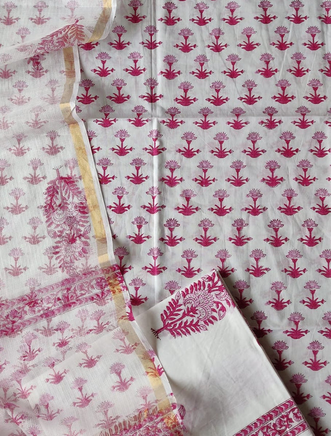 White & Red Flower Print Cotton Suit Set with Kota Doria Duppatta