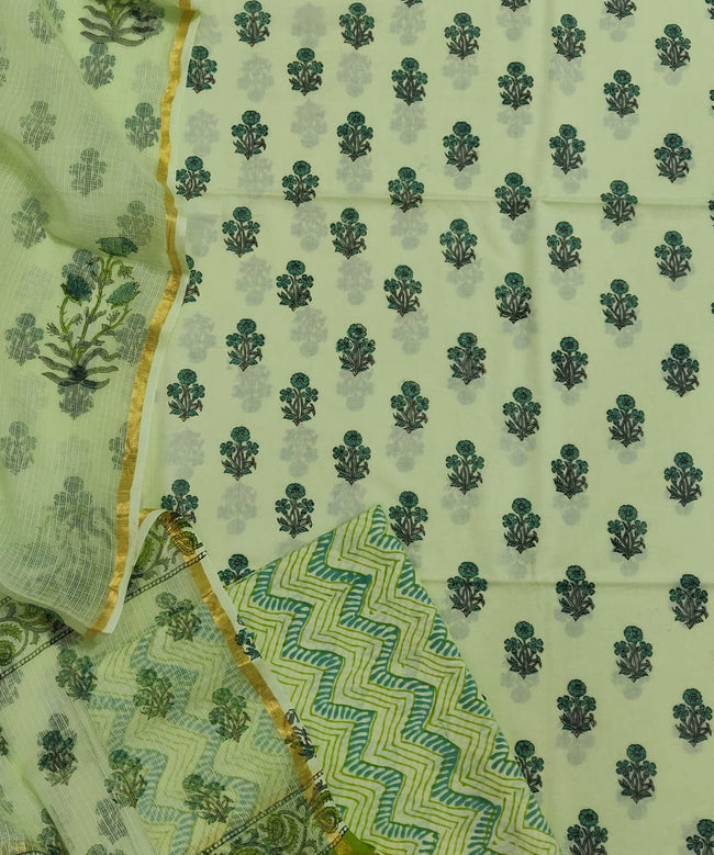 Green  Flower Print Cotton Suit Set with Kota Doria Duppatta