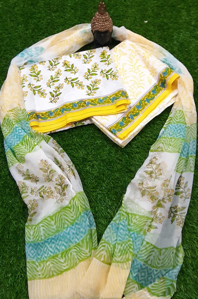 White & Yellow Flower Cotton Unstitched Suit Set with Chiffon Dupatta