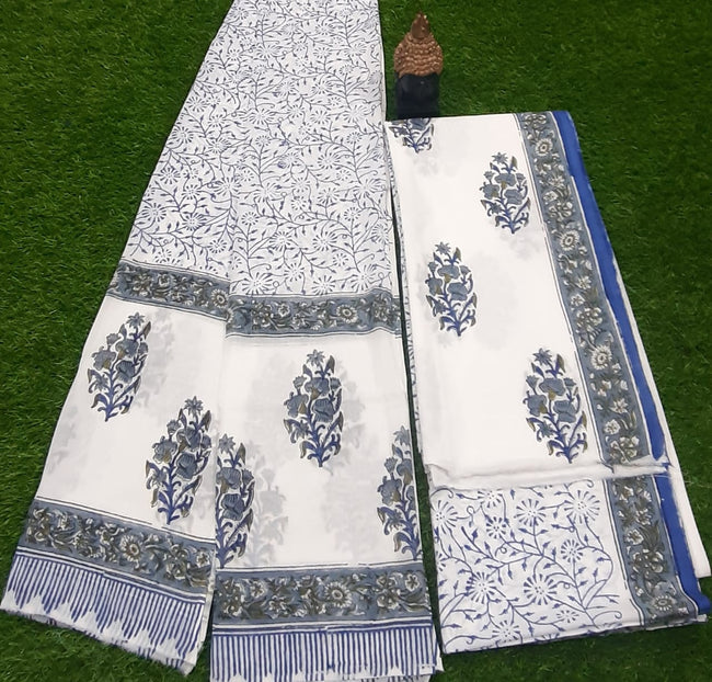 White Flower Print Hand Block Cotton Suit Set with Cotton Duppatta