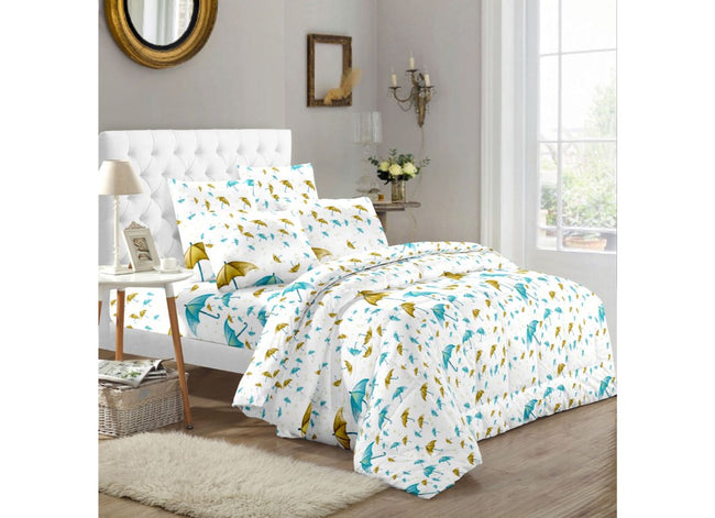 White base Blue Umbrella Print Extra Large King Size Twil Cotton Bed Sheet 108*108