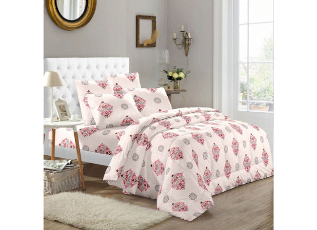 Pink Booti over all Print Extra Large King Size Twil Cotton Bed Sheet 108*108