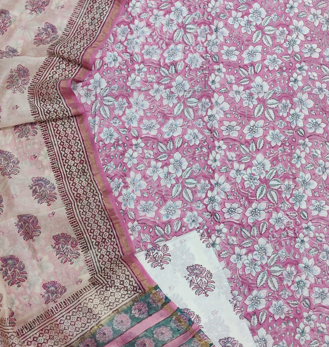 Pink & Peach Flower Print  Cotton Suit Set with Chanderi Duppatta