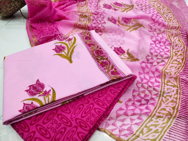 Pink Flower Flower Print  Cotton Suit Set with Chiffon zari Duppatta
