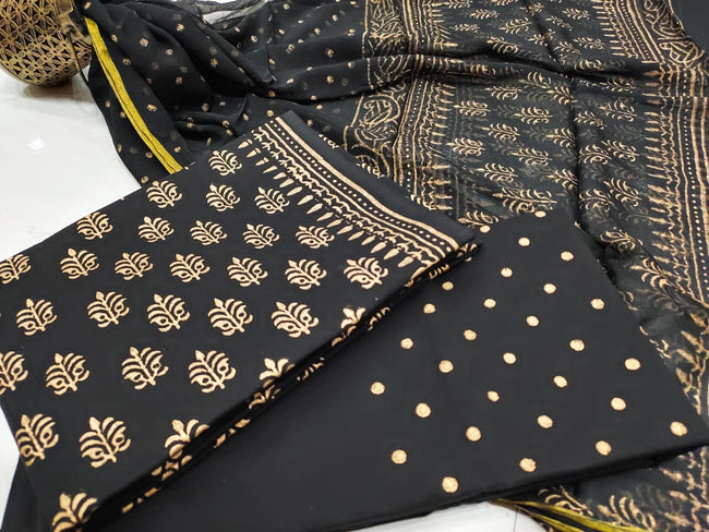 Black Dot Print  Cotton Suit Set with Chiffon zari   Duppatta