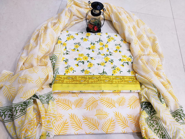 Yellow Flower Print Cotton Designer Unstitched Suit Set with Cotton Duppatta