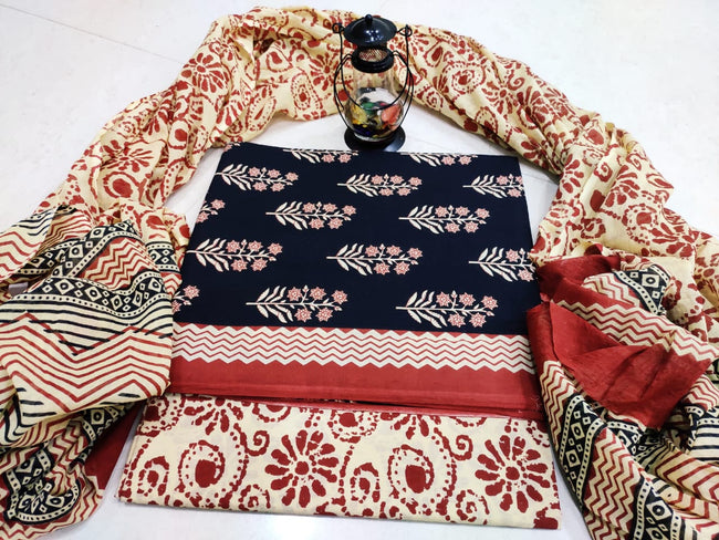 Cream & Black Flower Print Cotton Designer Unstitched Suit Set with Cotton Duppatta