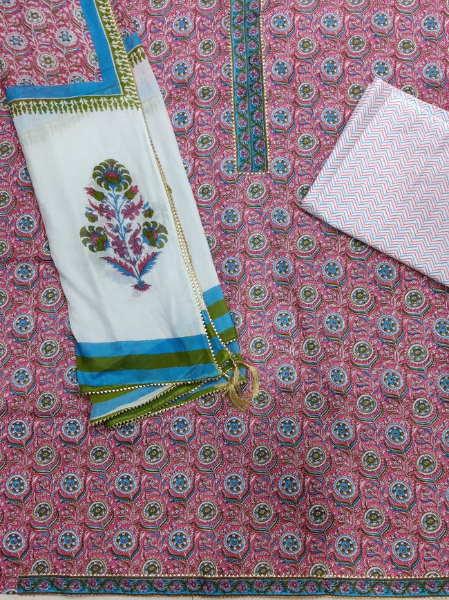 Pink Flower Gota Work Cotton Suit Set with Kota Doria Duppatta