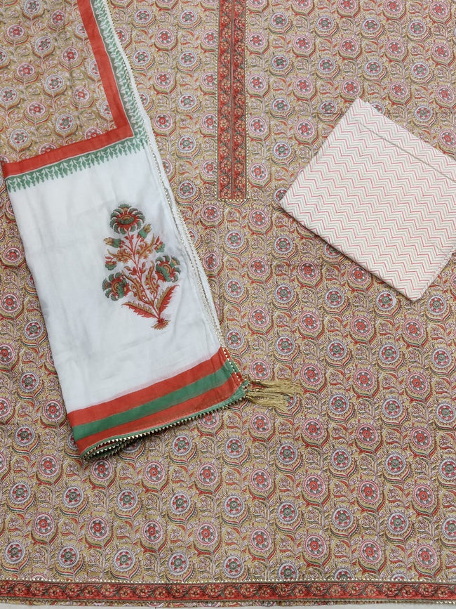 Peach Flower Gota Work Cotton Suit Set with Kota Doria Duppatta