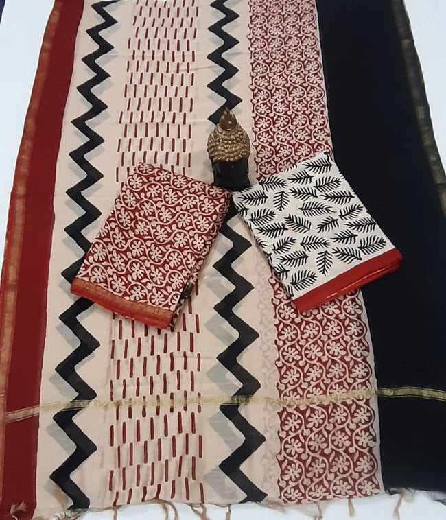 Red Black Flower Leaf Print Chanderi Unstitched Suit Set with Chanderi Dupatta