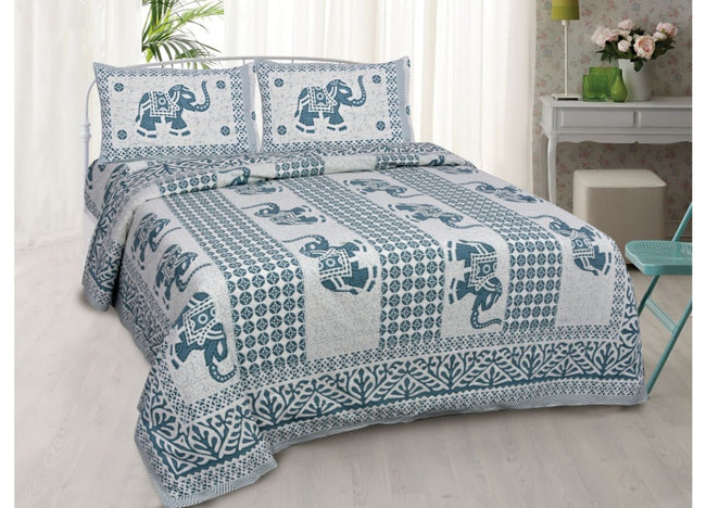 Sky Blue Elephant Print King Size Cotton Bed Sheet