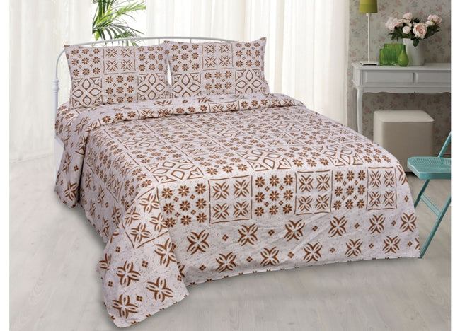 Light Brown Flower Print King Size Cotton Bed Sheet