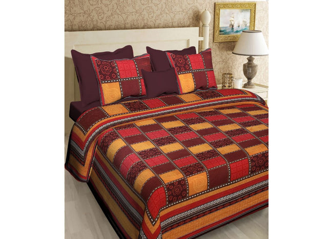 Vibrant Geometric design with intricate print Rajasthani King Size Cotton Bed Sheet