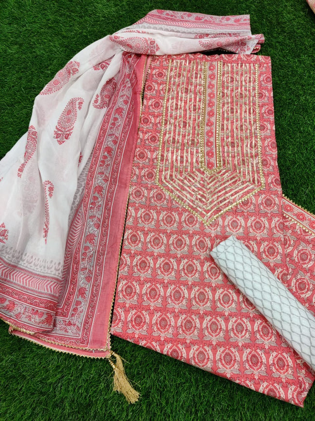 Pink Flower Print Gota Work Cotton Suit Set with Kota Doria Duppatta