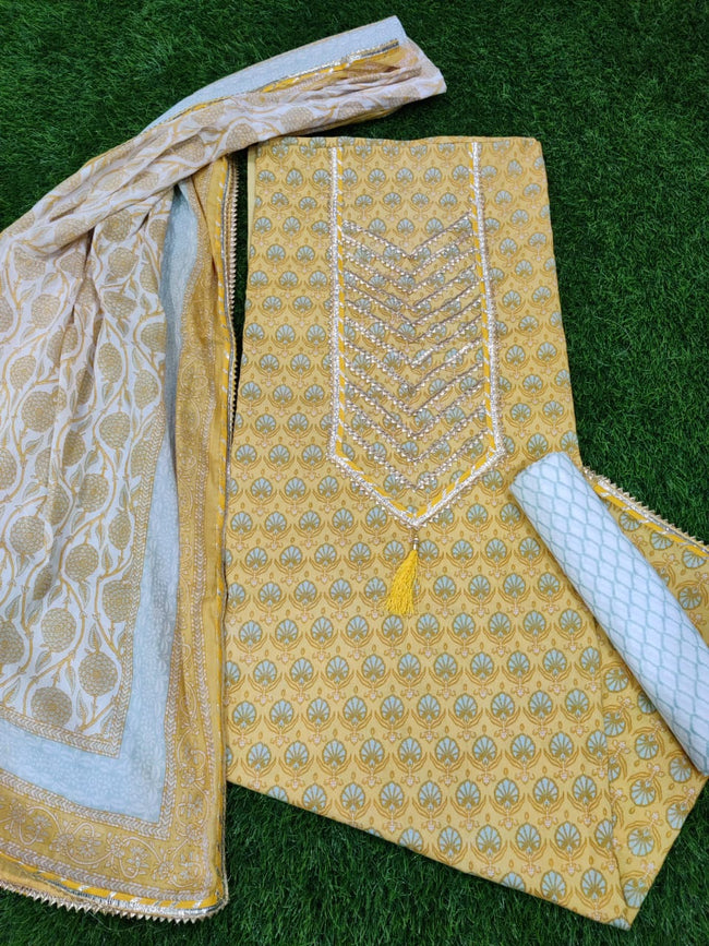 Yellow Flower Print Gota Work Cotton Suit Set with Kota Doria Duppatta