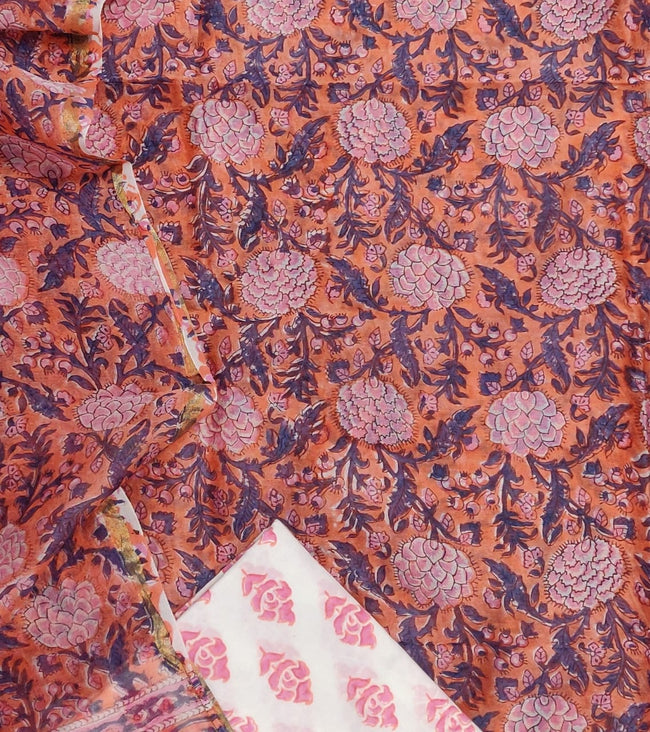 Orange Flower Print Chanderi Unstitched Suit Set with Chanderi Dupatta