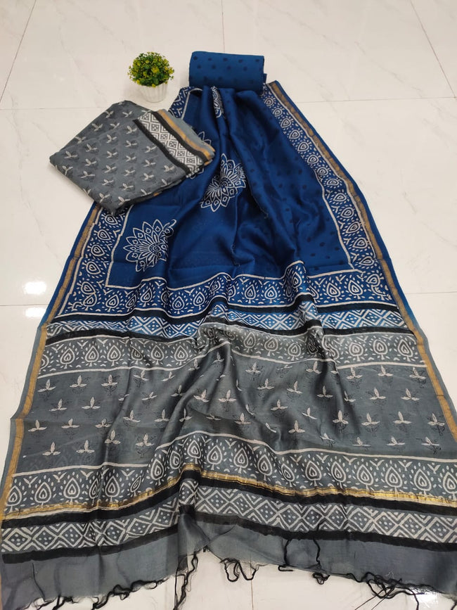 Gray & Blue Flower Print Chanderi Unstitched Suit Set with Chanderi Dupatta