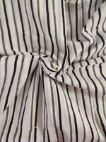 White & Black Strips  Print Cotton Fabric