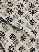 White & Black Star Print Bagru Cotton Fabric