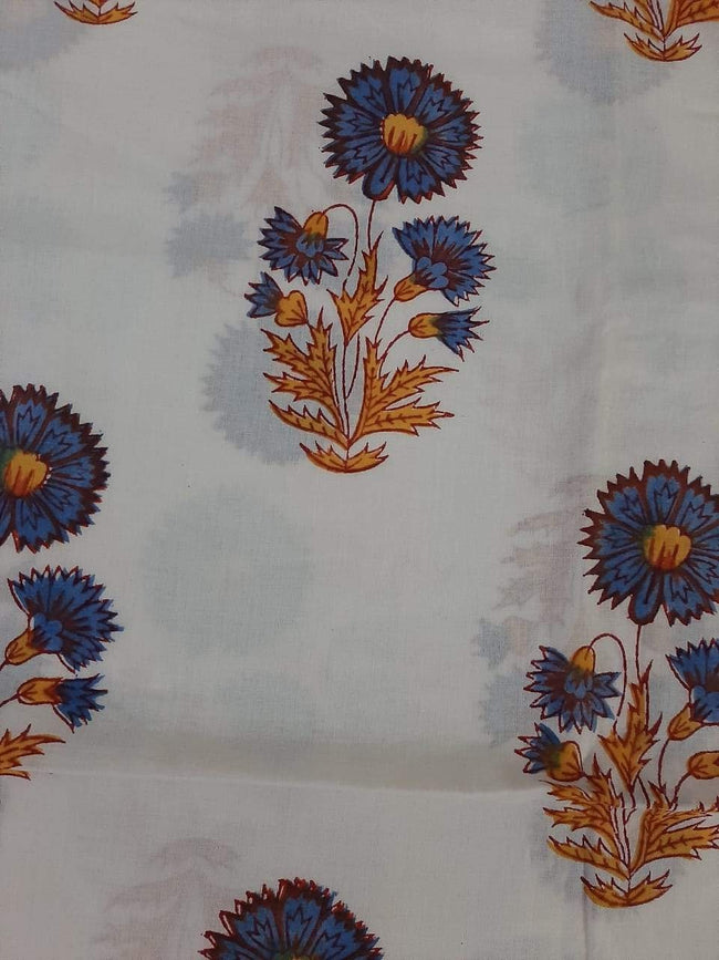 Pink & blue Flower Print  Cotton Fabric