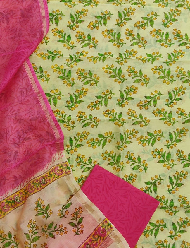 Light Green Flower Print Chanderi Unstitched Suit Set with Chanderi Dupatta