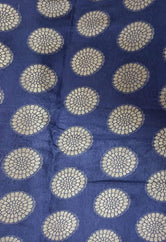 Blue & Gold  Flower Print  Cotton Silk Fabric