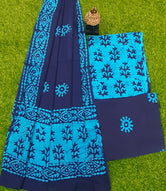 Blue Batik Print Cotton Designer Unstitched Suit Set with Cotton Duppatta