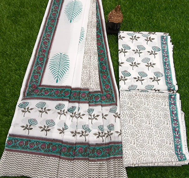 White & Green Flower Print Cotton Designer Unstitched Suit Set with Cotton Duppatta