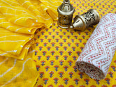 Yellow Flower Print Cotton Suit Set with Kota Doria Duppatta