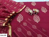 Dark Red Leaf Print Cotton Unstitched Suit Set with Kota Silk Dupatta