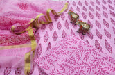 Light Violet Butta Print Cotton Unstitched Suit Set with Kota Silk Dupatta