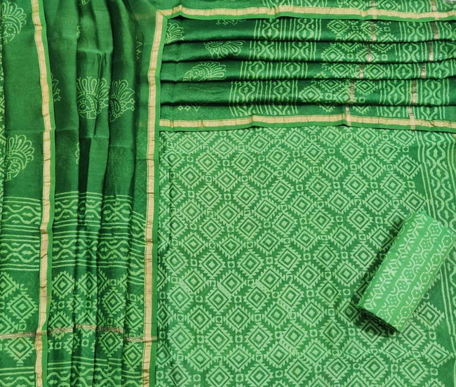 Green Leaf Print Chanderi Unstitched Suit Set with Chanderi Dupatta