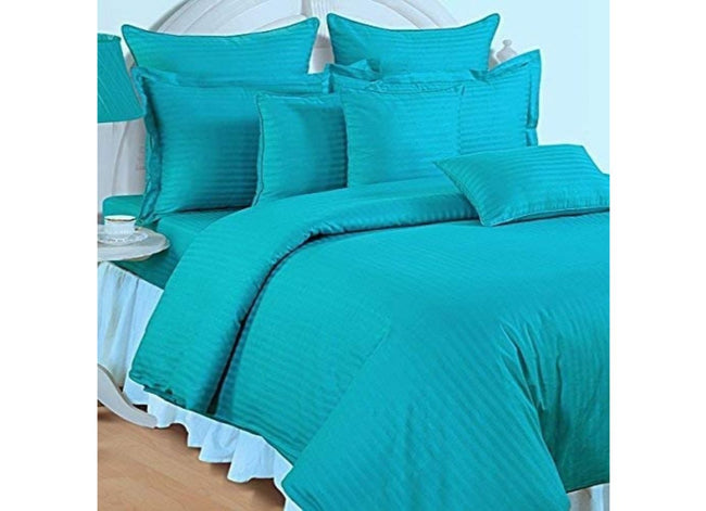 Solid Turquoise Cotton Bed sheet With Satin Lines