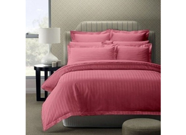 Solid Pink Cotton Bed sheet With Satin Lines