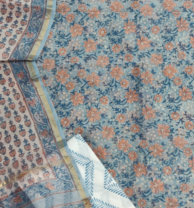 Blue & Peach Flower Print Chanderi Unstitched Suit Set with Chanderi Dupatta