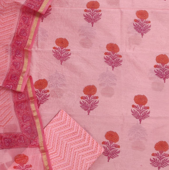 Pink Flower Print Chanderi Unstitched Suit Set with Chanderi Dupatta