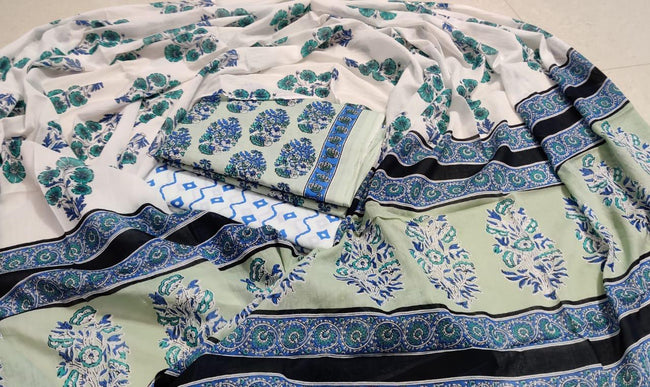 White & Green Flower Print Cotton Unstitched Suit Set with Cotton Dupatta