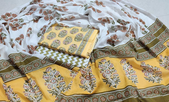 White & Yellow Flower Print Cotton Unstitched Suit Set with Cotton Dupatta