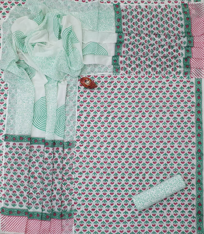 Light Green Flower Print Cotton Unstitched Suit Set with Cotton Dupatta