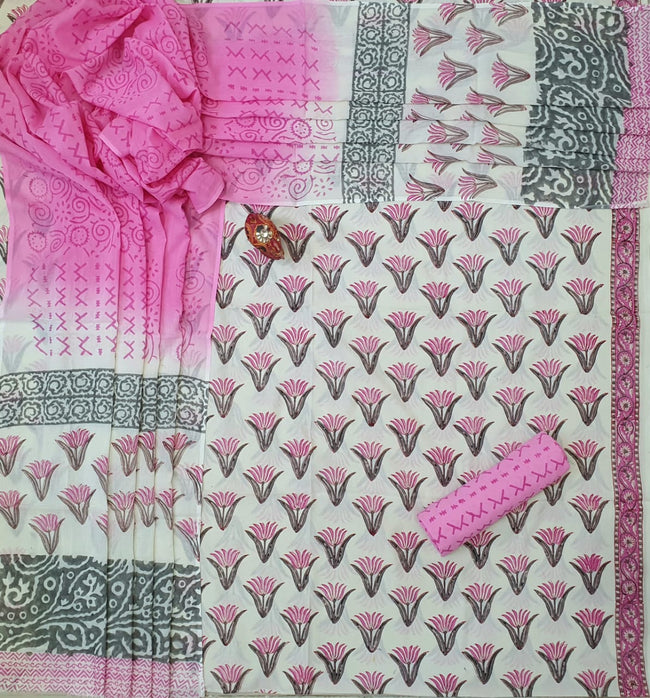 White & Pink Flower Print Cotton Unstitched Suit Set with Cotton Dupatta