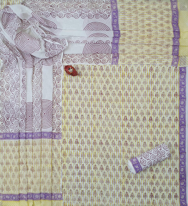 Violet & Yellow Flower Print Cotton Unstitched Suit Set with Cotton Dupatta