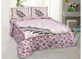 Beautiful Pink Feather Print King Size Cotton Bed Sheet