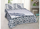 Beautiful Blue Feather Print King Size Cotton Bed Sheet