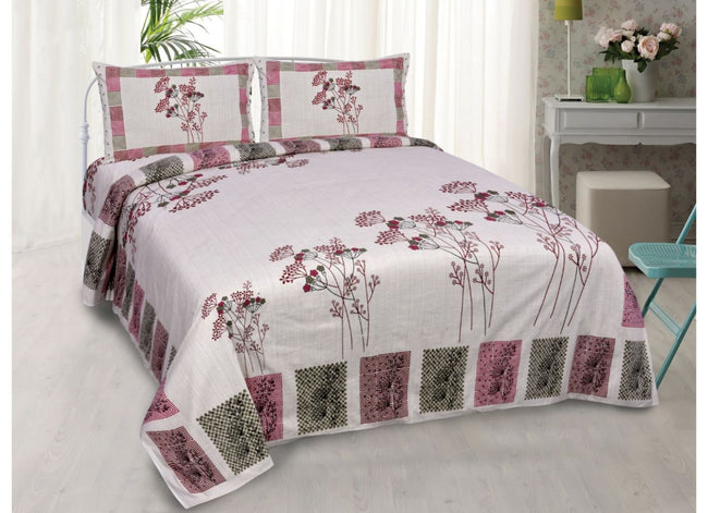 Beautiful Pink Flower Print King Size Cotton Bed Sheet