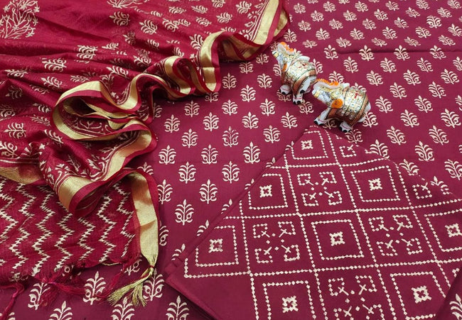 Maroon Leaf Print Cotton Unstitched Suit Set with Kota Silk Dupatta
