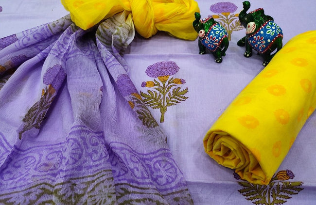 Violet Flower Print Cotton Unstitched Suit Set with Chiffon Dupatta