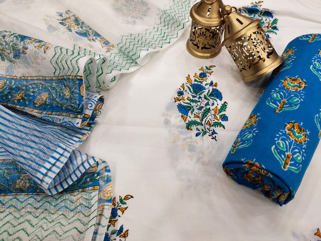 White & Blue Flower Print Cotton Suit Set with Kota Doria Duppatta