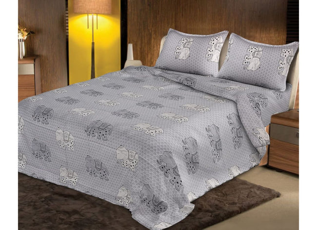Grey Baby Elephant Printed King Size Cotton Bed Sheet